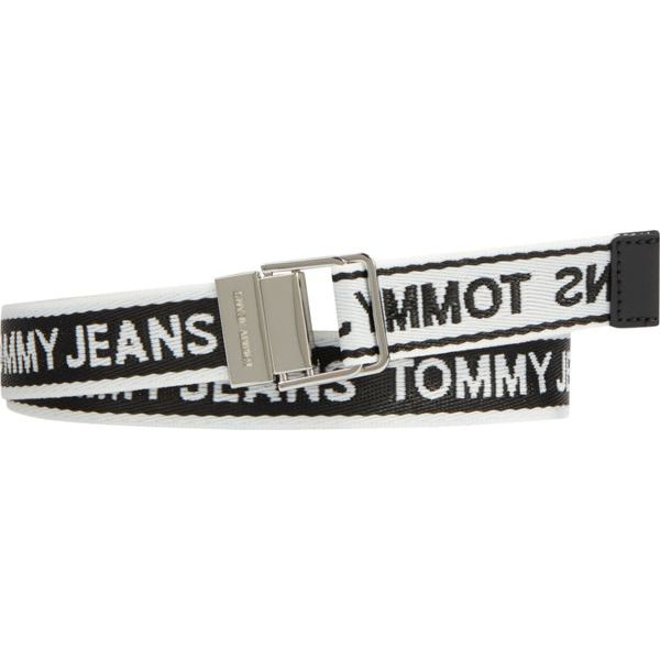 1. Fabric belt with repeated logo Black Tommy Jeans
