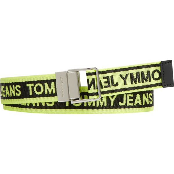 2. Fabric belt with repeated logo Green Tommy Jeans